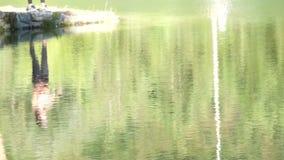 Tirado del lago escénico en verano Fondo unfocused borroso de la naturaleza almacen de video
