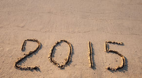 2015 tirado na areia Foto de Stock Royalty Free