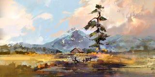 Tirado pela paisagem do esboço com uma casa e um pinho Imagens de Stock Royalty Free