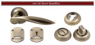 Tirador de puerta con un agujero para el ojo de la cerradura aislado en el backgr blanco Imágenes de archivo libres de regalías