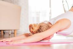 ?tirage faisant femelle sur le tapis de forme physique Femme faisant le yoga de balasana ? la maison images stock