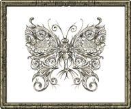 Tiragem à mão na borboleta do lápis Fotos de Stock Royalty Free