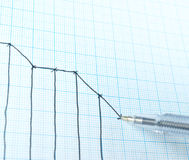 Tiragem abaixo do gráfico Foto de Stock Royalty Free