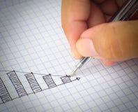 Tiragem abaixo do gráfico Fotografia de Stock Royalty Free