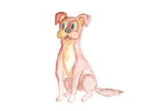 Tiragem com aquarela O cão está sentando-se ilustração royalty free
