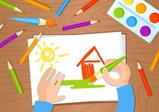 Tiragem com ilustração do vetor do lápis e das pinturas Fotos de Stock