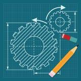 Tiragem com lápis e eliminador ilustração stock