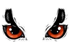 Tiragem da coruja dos olhos no fundo branco ilustração do vetor