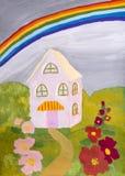 Tiragem das crianças & x22; Casa com um rainbow& x22; Fotos de Stock Royalty Free