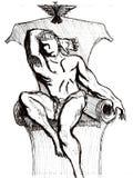 Tiragem de um príncipe que senta-se no trono ilustração royalty free