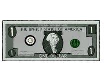 Tiragem de uma única nota de dólar dos E.U. imagem de stock royalty free