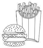 Tiragem do Hamburger e das batatas fritas ilustração royalty free