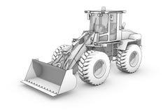 Tiragem: esboço preto e branco da máquina escavadora ilustração do vetor