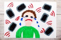 Tiragem: Menino de grito cercado por telefones ou por tabuletas Perigo de meios sociais ilustração do vetor