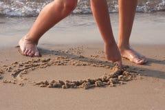Tiragem na areia Imagens de Stock Royalty Free