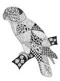Tiragem original dos zentangles de um papagaio ilustração royalty free