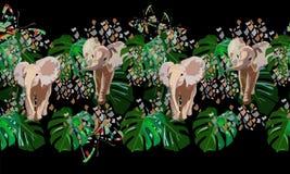 Tiraggio astratto dell'acquerello degli elefanti del bambino, foglie verdi tropicali Fotografia Stock Libera da Diritti