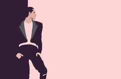 Tiraggio astratto dell'acquerello dell'uomo alla moda, Immagine Stock Libera da Diritti