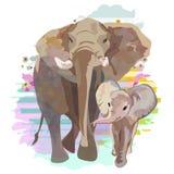 Tiraggio astratto della famiglia dell'elefante & di x28; mamma e baby& x29; Fotografie Stock Libere da Diritti