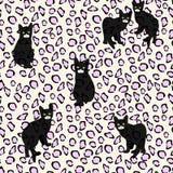 Tiraggio astratto di piccoli gattini neri sul modello del leopardo Fotografia Stock Libera da Diritti
