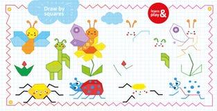 Tiraggio dal gioco dei quadrati per i bambini Insetti e fiori Esaminando il campione attinga i quadrati tutti gli insetti facendo royalty illustrazione gratis