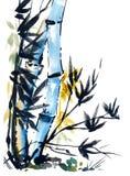 Tiraggio dell'acquerello di bambù nello stile giapponese illustrazione di stock