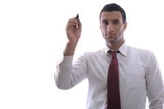 Tiraggio dell'uomo di affari con l'indicatore su spazio vuoto immagine stock libera da diritti
