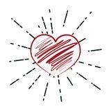 Tiraggio della mano del cuore illustrazione di stock