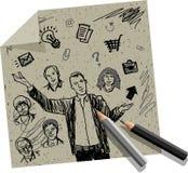 Tiraggio della mano dell'uomo d'affari di presentazione sul documento del mestiere illustrazione vettoriale
