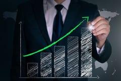 Tiraggio della mano dell'uomo d'affari un grafico positivo Fotografie Stock