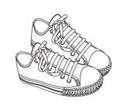 Tiraggio della mano della scarpa Fotografie Stock Libere da Diritti