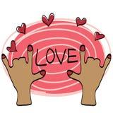 Tiraggio della mano di amore con il dolce di colore immagine stock libera da diritti