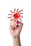 Tiraggio della mano il sole del fumetto fotografia stock libera da diritti