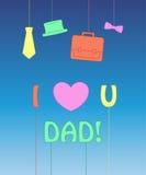 Tiraggio della mano per la carta di giorno del padre s Illustrazione di vettore Fotografia Stock
