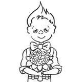 Tiraggio della pittura della mano poco ragazzo di sorriso con batterfly a cui vuole dare i fiori del mazzo al suo insegnante alla illustrazione vettoriale