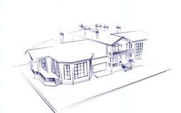 tiraggio di architettura 3d tecnico Fotografia Stock Libera da Diritti