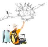 Tiraggio di viaggiatore con zaino e sacco a pelo una pianificazione di viaggio di viaggio immagini stock libere da diritti