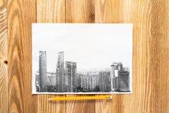 Tiraggio moderno della matita del centro urbano immagine stock