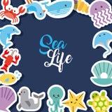 Tiraggio piano di vita di mare illustrazione di stock