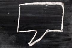 Tiraggio quadrato in bianco di discorso della bolla del fumetto da gesso sul bordo nero immagine stock libera da diritti