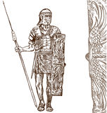Tiraggio romano della mano del guerriero Immagine Stock Libera da Diritti