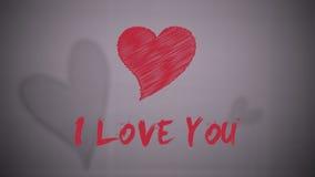 Tiraggio rosso del cuore di giorno di biglietti di S. Valentino royalty illustrazione gratis