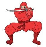 Tiraggio rosso di ninja Fotografia Stock Libera da Diritti