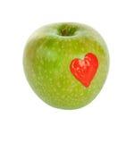 Tiraggio su una mela verde fotografia stock libera da diritti