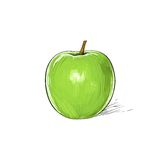 Tiraggio verde di schizzo della mela isolato sopra bianco Fotografia Stock Libera da Diritti