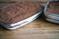 Tiramisou homemade with chocolate. Tiramisou homemade coated with chocolate powder Royalty Free Stock Image