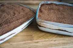 Tiramisou homemade with chocolate. Tiramisou homemade coated with chocolate powder Stock Photography