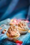 Tiramisu κρέμας επιδορπίων Cupcake Στοκ εικόνα με δικαίωμα ελεύθερης χρήσης