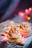 Tiramisu κρέμας επιδορπίων Cupcake Στοκ Εικόνες