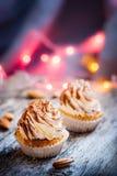 Tiramisu κρέμας επιδορπίων Cupcake Στοκ Εικόνα